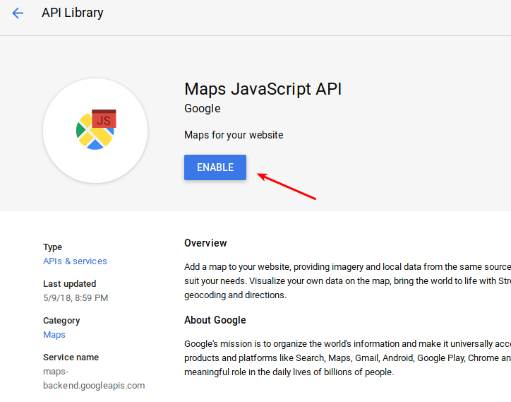 How to add Google Maps API key (from google console