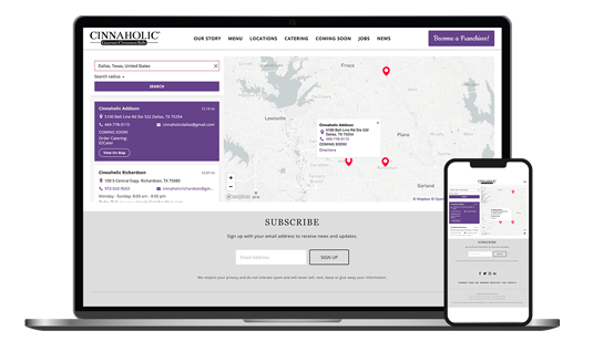 Example of a SquareSpace store locator on desktop and mobile